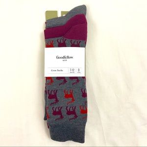 3 Pk Reindeer Crew Socks Casual Goodfellow